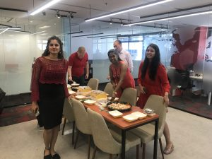 Enjoying Food in the Singapore Office